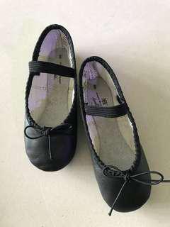 ballet shoes black leather