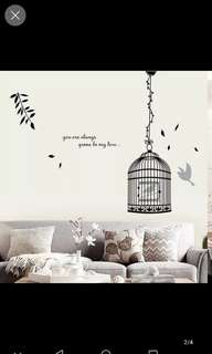 Creative simple bird cage stickers living room porch corridor wall decoration ornaments warm bedroom background wall stickers