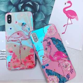 (H)手機殼IPhone6/7/8/plus/X : 可愛火烈鳥水鑽藍光全包邊滴膠底軟殼
