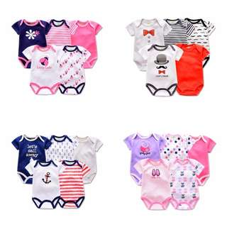 5-piece Embroidered Printed Design Baby Romper Suit👼