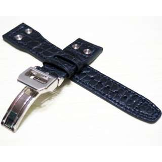 22mm Deep Blue Crocodile & Alligator Leather Watch Strap with Rivets