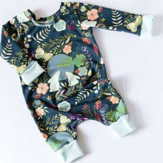 🚚 🌟INSTOCK🌟 Emerald Green Floral Garden PJ Long Sleeves Kids Sleeping Jumpsuit Newborn Toddler Baby Romper for boys and girls