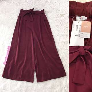 VL6111 New temt maroon belted midi cullote pants