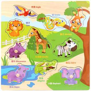(Puzzle12) Wooden Zoo Animals Peg Board Knob Educational Alphabets Numbers Vehicles Fruits Vegetables Puzzles