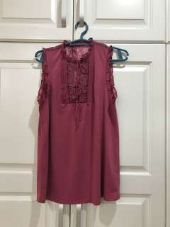 Magenta Laced Detailing Blouse