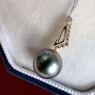 10-11mm大溪地 孔雀綠微微瑕 這麼漂亮的顏色只有一粒 14K金 鋯石簡單時尚