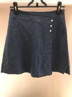 Made in Korea 藍色棉麻半身裙