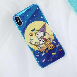 (H)手機殼IPhone6/7/8/plus/X : 魔法史努比水鑽藍光全包邊滴膠底軟殼