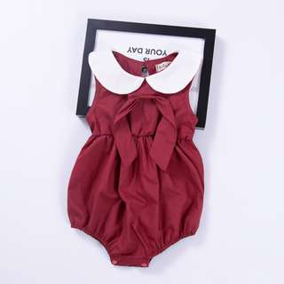 🚚 🌟INSTOCK🌟 Collar Red Maroon Newborn Toddler Baby Onesie Kids Casual Romper for girls
