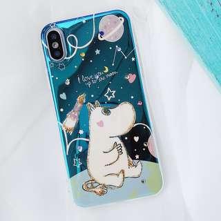 (H)手機殼IPhone6/7/8/plus/X : 可愛姆明Moomin水鑽藍光全包邊滴膠底軟殼