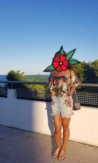 Green floral crop top