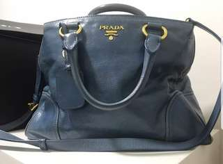 PRADA Vitello Shine Leather Handbag