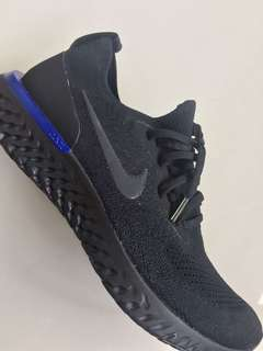 NIKE Epic React Flyknit Sneakers (Black/Racer Blue)