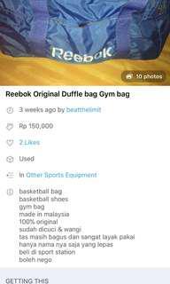 Reprice Reebok Duffle bag