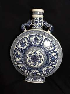 Qing era Qianlong mark B n W flat vase with auspicious fortune n wealth icons.