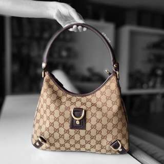 Authentic Gucci GG Canvas Abbey D Ring Hobo Bag