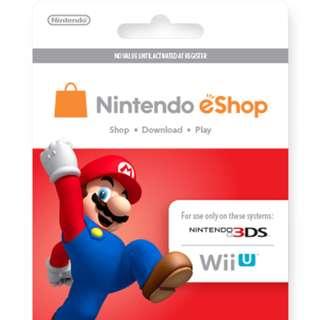 PHYSICAL Nintendo Eshop Gift Card 5/10/20/50/70USD