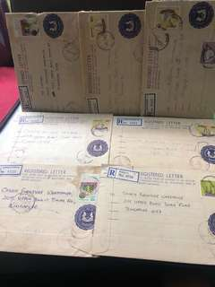 Clearing Stocks: Singapore Early Registered Envelopes X 7 Pieces