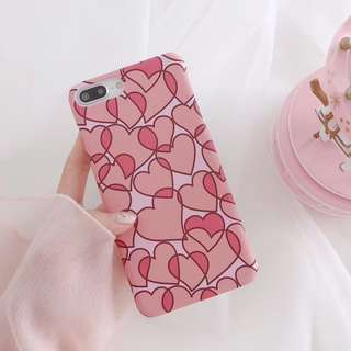 (A)手機殼IPhone6/7/8/plus/X : 清新愛心粉色少女(上下不包邊)磨砂硬殼