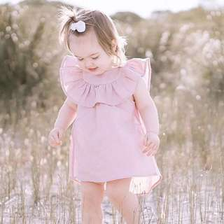 🚚 ✔️STOCK - DUSTY PINK RUFFLED COLLAR BABY CASUAL PARTY SHIFT ASYMMETRICAL DRESS TODDLER GIRL KIDS CHILDREN CLOTHING