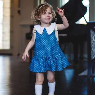 🚚 ✔️STOCK - POLKA DOT BLUE JEANS COLLAR BABY CASUAL PARTY SHIFT DRESS TODDLER GIRL KIDS CHILDREN CLOTHING