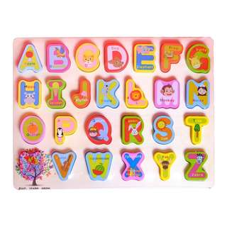 Chunky Wooden Alphabet Numbers Shapes Puzzle