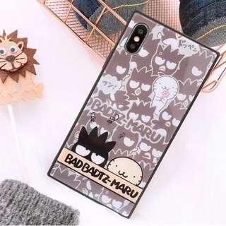 (A)手機殼IPhone6/7/8/plus/X : 卡通XO酷企鵝全包黑邊玻璃背板殼
