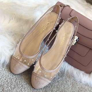 CHANEL珍珠PVC透明鞋