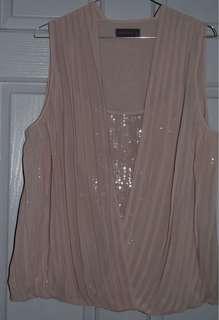 Jacque E Blouse Size 12 Dusty Pink/Blush EUC