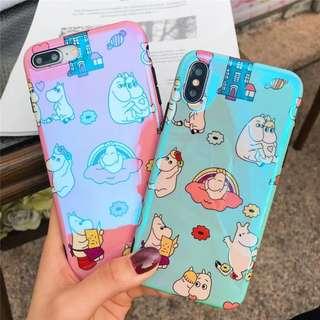 (A)手機殼IPhone6/7/8/plus/X : 創意姆明Moomin藍光全包黑邊軟殼