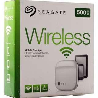Seagate - Wireless Mobile Storage 500GB External USB Portable Hard Drive - White