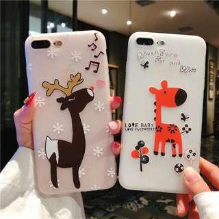 (A)手機殼IPhone6/7/8/plus/X : 可愛小鹿全包邊半透明軟殼