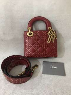 Authentic lady dior mini studded red