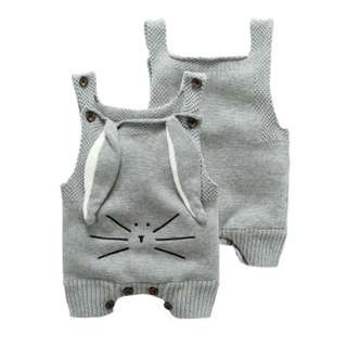 🚚 🌟INSTOCK🌟 Premium Grey Knitted Bunny Ears Kids Onesie Newborn Toddler Baby Romper Gift for boys and girls