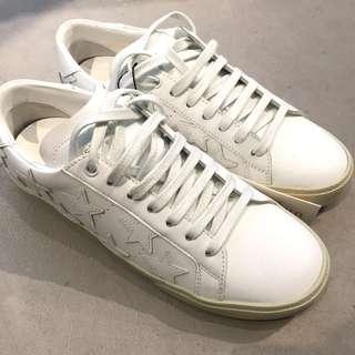 Saint Lauren White Stars Court Classic Sneakers