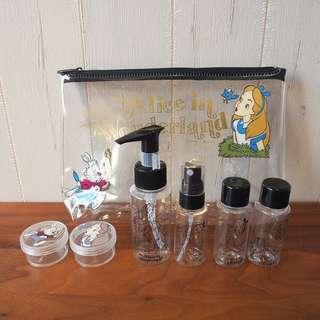 Alice in wonderland愛麗絲斯旅行化妝品收納瓶一套連袋travel kit