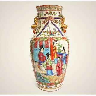 """19thC famille rose canton celadon vase A 9.5 inches"""" tall 晚清广彩花瓶"""