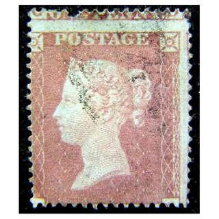 1850年大英帝國英女皇維多利亞像1便士郵票(大移位異品紅便士, 保真)