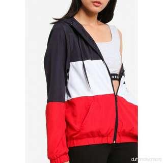 SUPRE Spliced Lightweight Colour Block Windbreaker Jacket