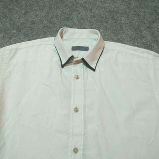 ZARA MAN White Double-Collar Cotton Shirt Long Sleeve Size S