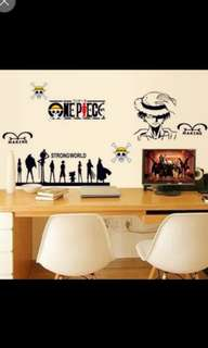 Cartoon Anime Lufei Wall Sticker Removable Car Sticker Bedroom Living Room Bedside Study Room Sticker