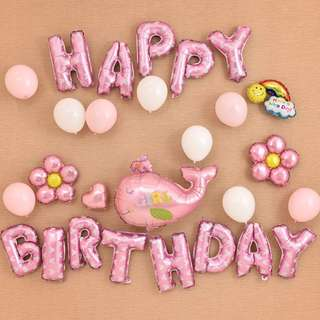 🚚 Pink Whale Happy Birthday Party Set