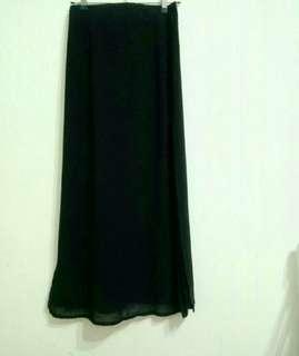 M號黑色高腰雪紡雙開衩長裙/裙長:91cm
