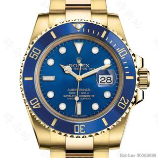 ROLEX 116618LB_BLUE SUBMARINER DATE OYSTER 40MM YELLOW GOLD