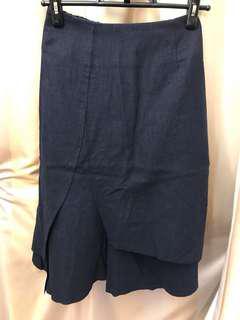 Made in Korea 藍色棉麻不規則半身裙 長裙
