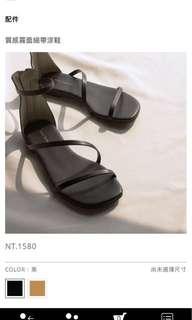 近全新|mercci22質感霧面細帶涼鞋 黑36碼