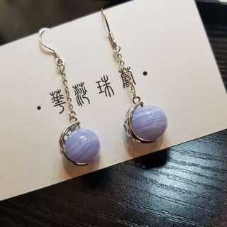 【藍紋瑪瑙鏤空純銀耳墜 】