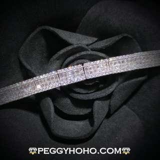 【Peggyhoho】全新18K白金4卡70份真鑽石手鍊|罕有公主方鑽 無邊鑲 illusion |粗身渾身手鍊 Bracelet