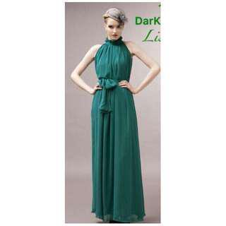 Chiffon turtleneck long elegant maxi dress