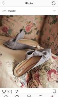 Ittaherl jackie mules pointy flat warna grey sz 37 (24.5-25cm)